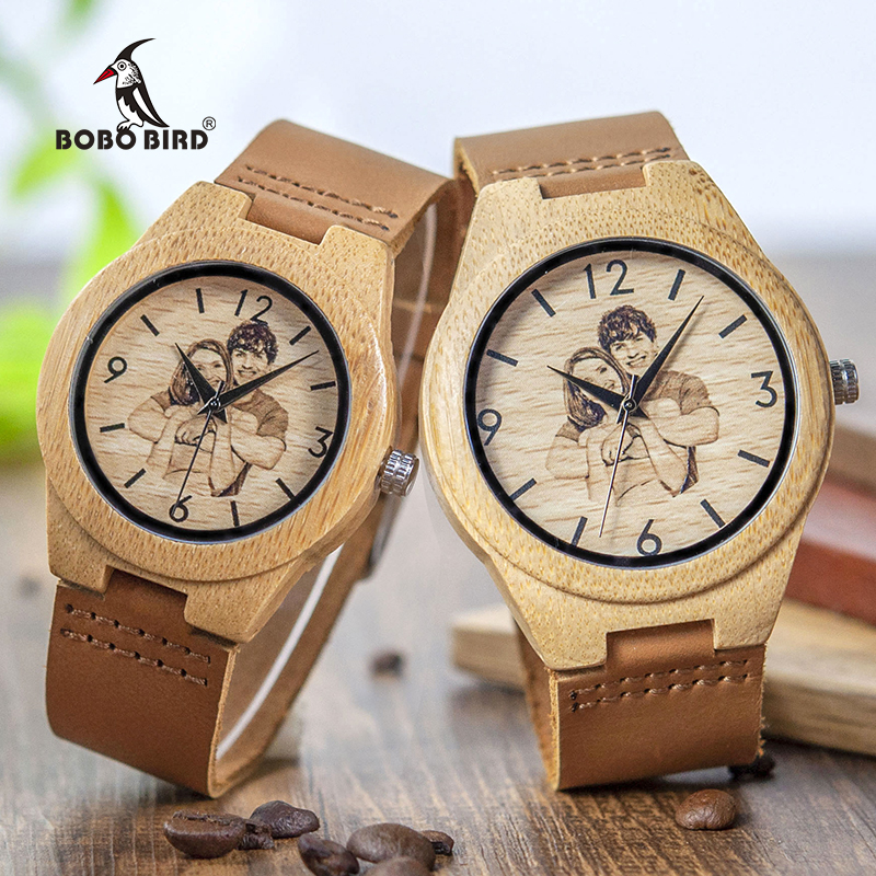 Personalized Picture Printed Wooden Watch with a Gift Box 2