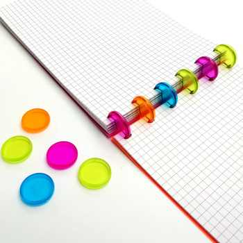 100Pcs 20mm Plastic Disc-binding Loose Book Binding Ring Disc Colorful Mushroom Hole Arc Binding Notebook Office School Supplies