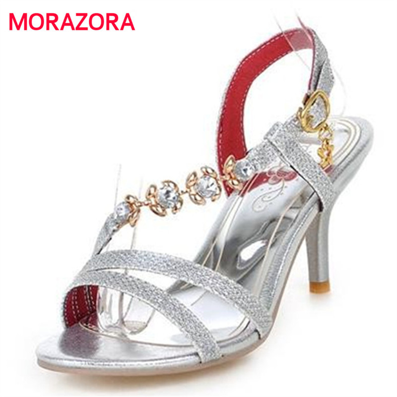 MORAZORA Big size 34-46 summer high heels women sandals open toe rhinestone sexy buckle ladies summer wedding shoes woman suru designer shoes wedding heels women sexy open toe cut out side summer sandals high heels large size 40 41 42 43 44 45 46 a39