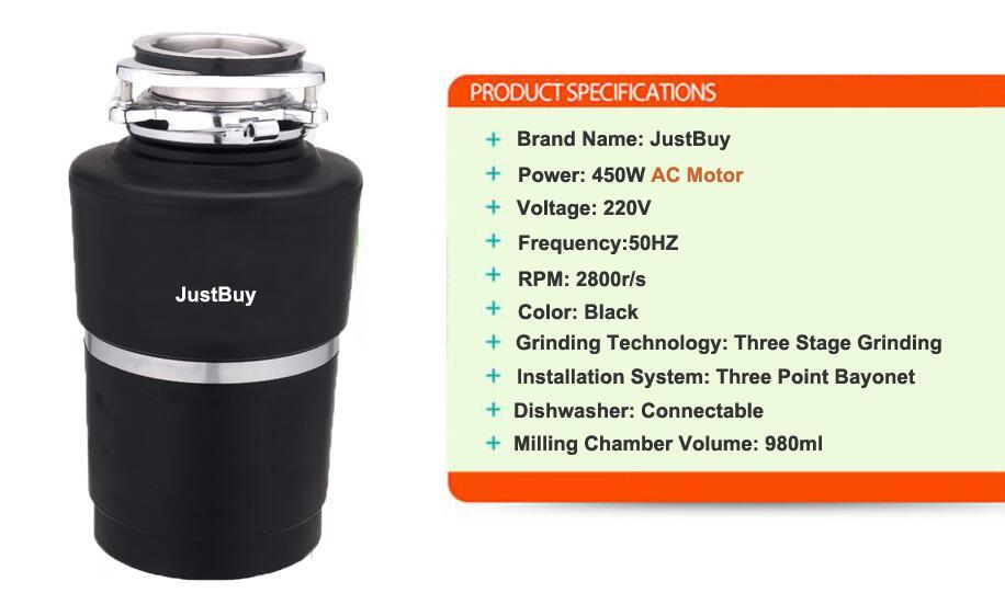 8 KG broyeur de déchets alimentaires broyeur de déchets alimentaires broyeur en acier inoxydable matériel de cuisine évier appareil - 2