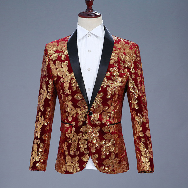 fe0c05c83 Mens Sequin Suit Burgundy Men Prom Suits Gold Men Prom Tuxedos Punk Style  Jacket Singer Heren Colberts Men s Stage Costumes