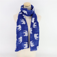 Jinjin.QC Women's Scarf Scarves Blue Color Elephant Pattern Viscose Material High Excellent Quality Spring Summer Stylish stylish handpainted flower and leaf pattern tassel pendant purplish blue scarf for women