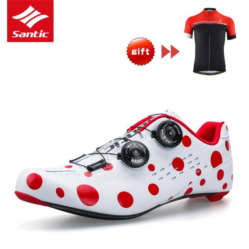 PRO chaussures de vélo de route en Fiber de carbone rouge Spot chaussures de vélo de route rotation boucle chaussure de vélo Zapatillas Ciclismo hommes Santic