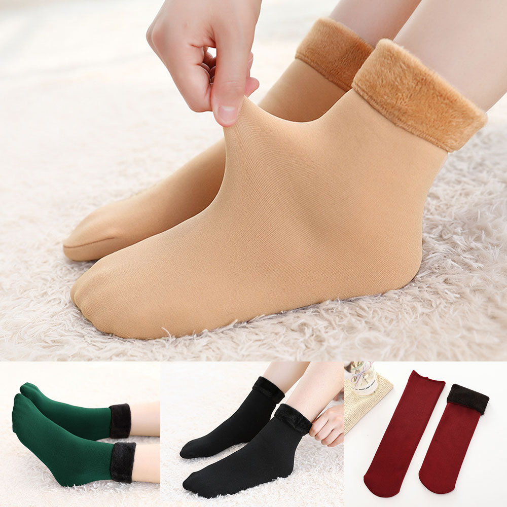 Winter Wamer Thicken Thermal Wool Cashmere Snow   Socks   Seamless Velvet Boots Floor Sleeping   Socks   for Mens