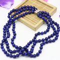 8mm blue lapis lazuli stone round beads 3 rows necklace stone jasper wholesale price new fashion women jewelry 17-19inch B3207