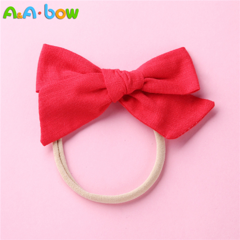 1 18pcs Handmade Fabric Bow Headbands for Baby girls Solid Cute Elastic Nylon Bow Headband School Girls Hair Accessories in Hair Accessories from Mother Kids