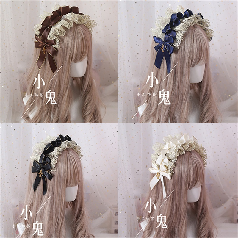 Vintage Japanese Sweet Lolita Lace Bow   Headwear   Maid Hair Band Daily Hair Accessories Headbands Elegant Princess KC Headdress