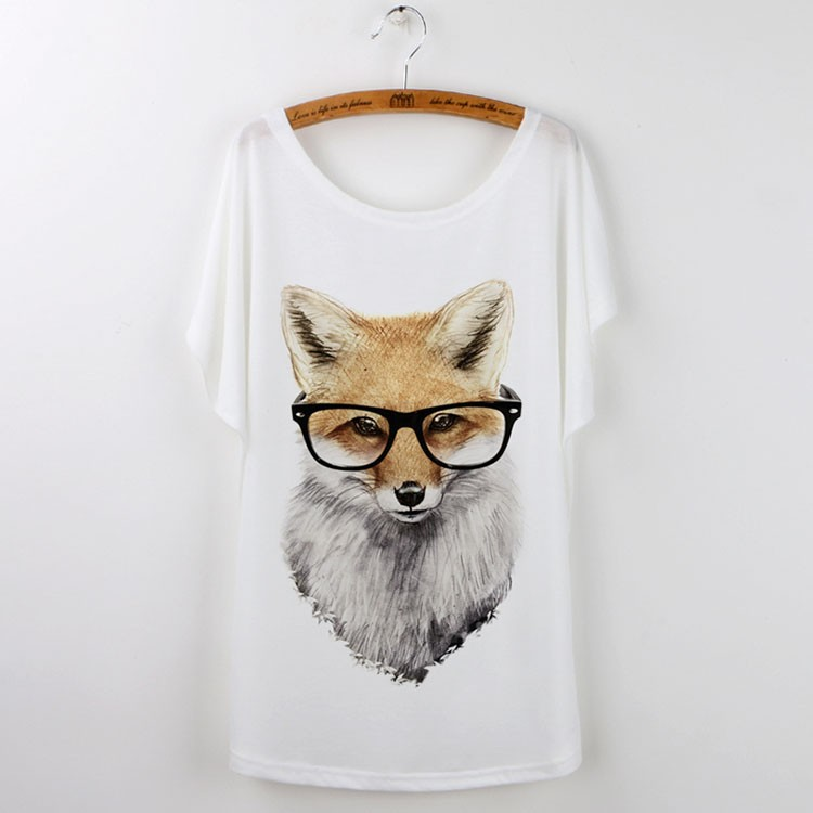 HTB1XsVUJVXXXXbXXXXXq6xXFXXXs - Cute Fox Short Sleeve White T Shirt Camiseta Feminina Tee