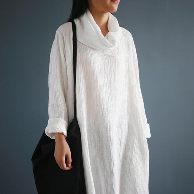 SCUWLINEN 2017 Autumn Winter Women Dress Soft Cotton Comfortable Turtleneck Long-sleeve All-match Loose Basic Long Cotton Dress