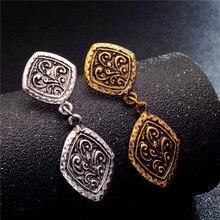 Ancient Style Brass Gold Tone Ornate Swirl Hoop Gypsy Indian Tribal Ethnic Earrings Boho Dangle Earrings Jewelry