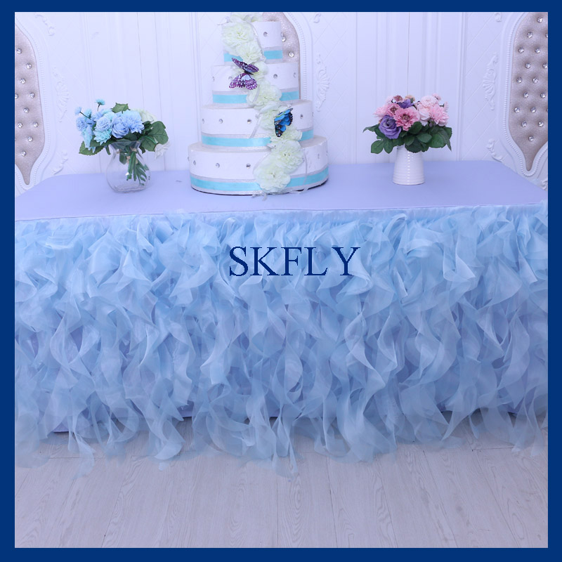 CL010R organza 6 ft rectangle 30 wide 72 long 30 drop curly willow frilly light blue fancy wedding tablecloths with topCL010R organza 6 ft rectangle 30 wide 72 long 30 drop curly willow frilly light blue fancy wedding tablecloths with top