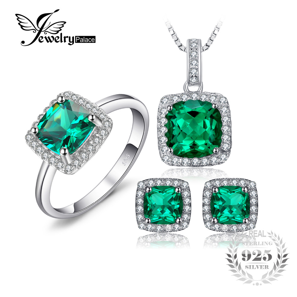 JewelryPalace Square Cut Created Emerald Jewelry Set Earring Ring Pendant Necklace 925 Sterling Sliver Fashion Jewelry Brand jewelrypalace princess diana jewelry engagement wedding created emerald jewelry 925 sterling silver ring pendant earring