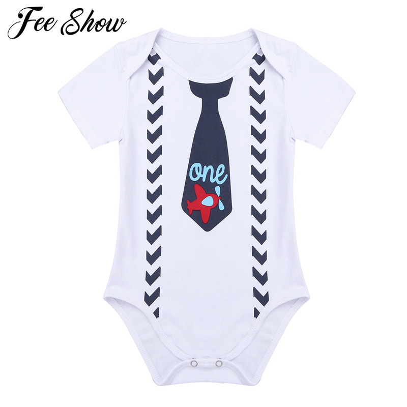 Baby Boy 1st Birthday Outfit Infant Letter One And Tie Suspenders Pattern Printed Romper Colthing For Party