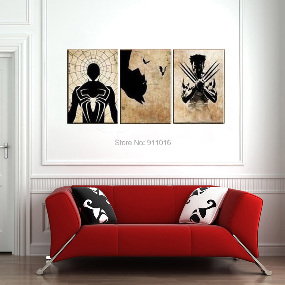 Cartoon wolverine painting handmade abstract wall for Modern home decor paintings