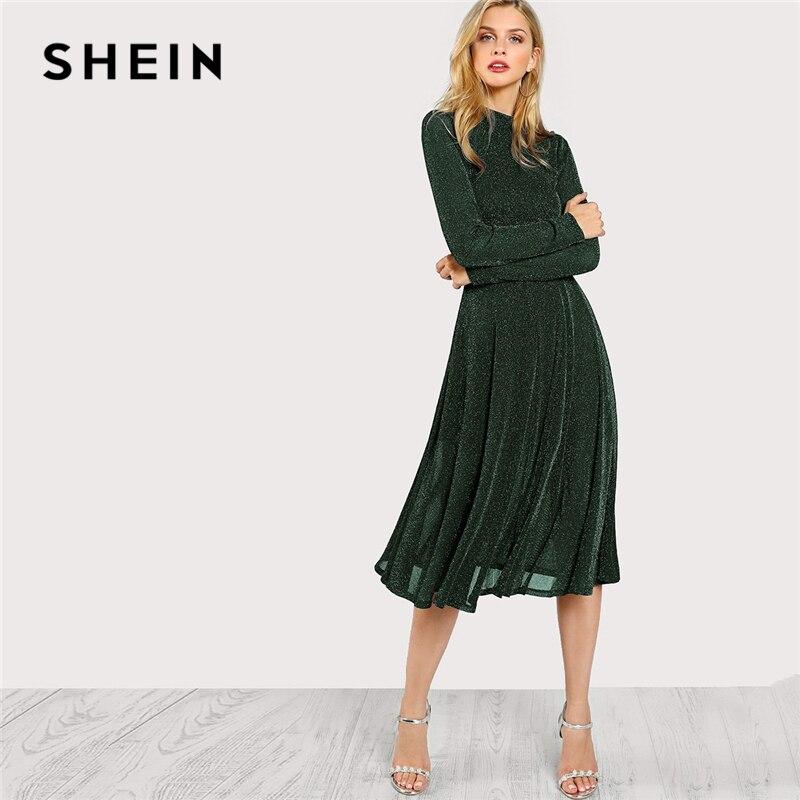 SHEIN Grün Elegante Party Mock Neck Glitter Taste Fit Und Flare Feste Natürliche Taille Kleid 2018 Herbst Minimalis Frauen Kleider