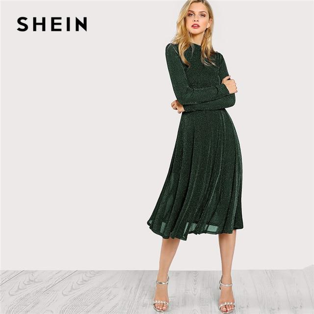 4210b174909fb SHEIN Green Elegant Party Mock Neck Glitter Button Fit And Flare Solid  Natural Waist Dress 2018 Autumn Minimalist Women Dresses