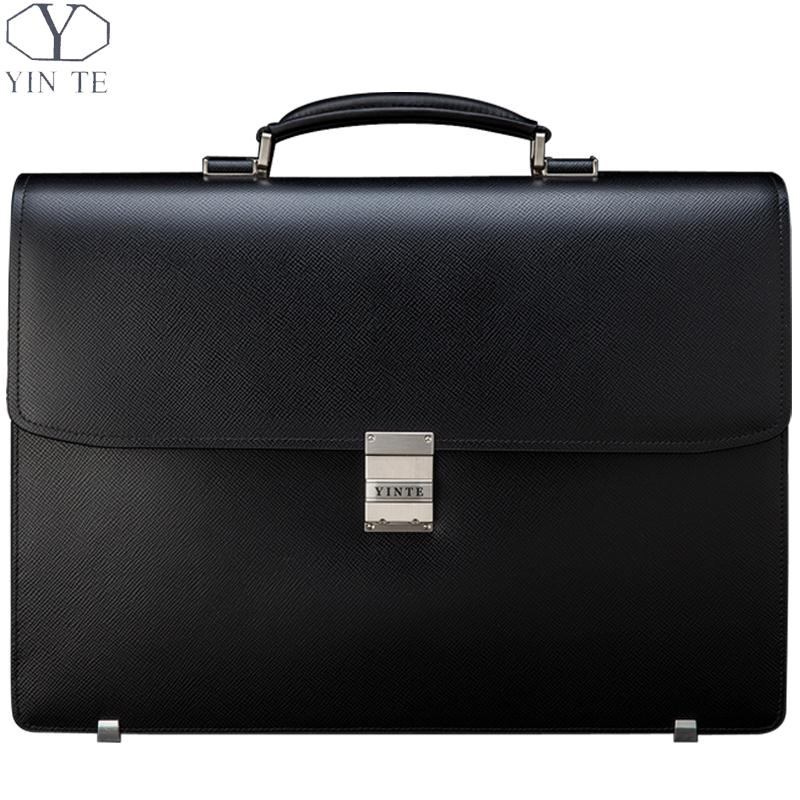 YINTE Mens Black Briefcases Classic Leather Big Business Bag Zipper Working Office Bags Thick And Wide Totes Portfolio T8556-5