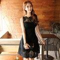 Мода Тонкий Сексуальный Черный Hollow Кружева Лоскутная Женщины Платье Без Рукавов Короткие Платья Партии Vestidos