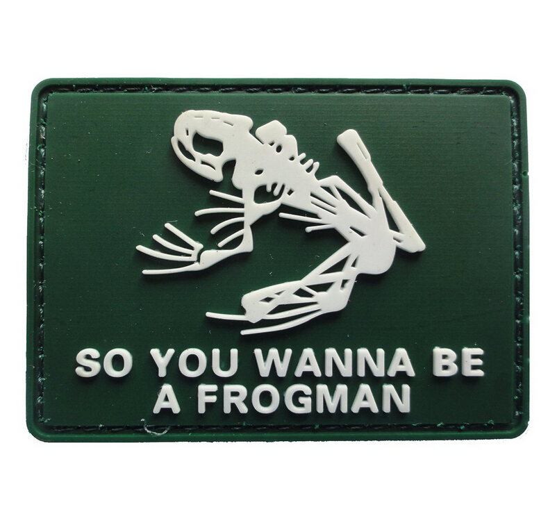 7.7*5.7CM Tactical Warface Frog Skeleton Frogman PATCH ARMY MORALE PVC RUBBER Patch Caps ...