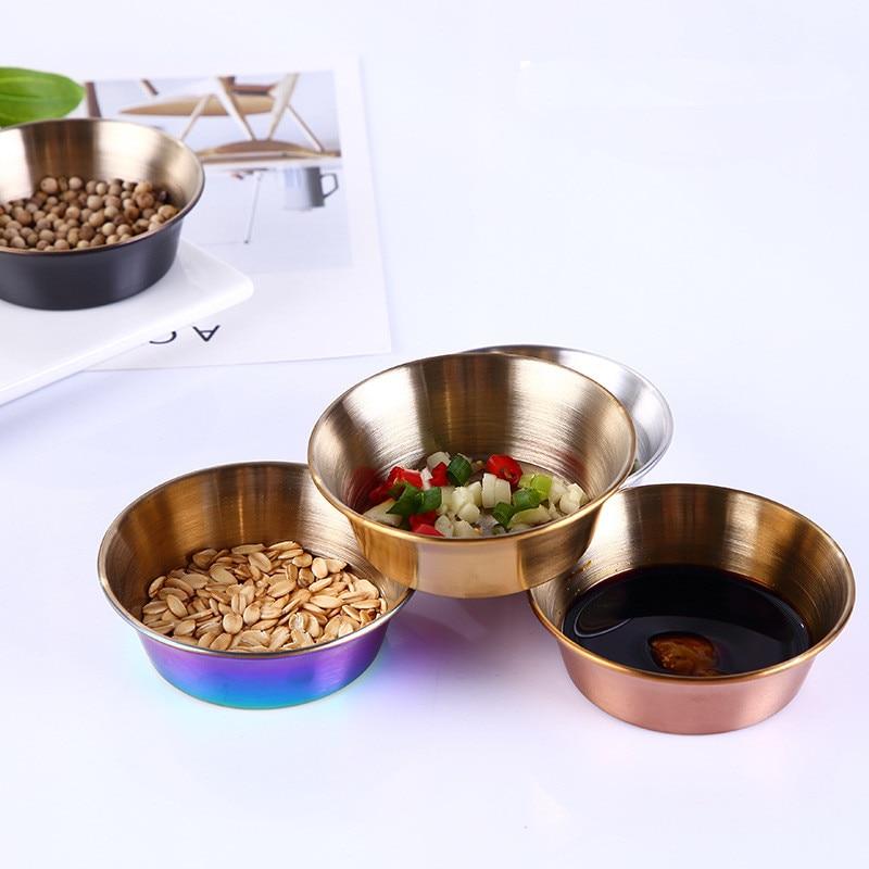 para aperitivos, sushi especias Angoily 8 cuencos redondos de acero inoxidable para sushi multicolor salsas platillos 3. 14 x 3, 14 x 0. 98 pulgadas para inmersi/ón mini plato
