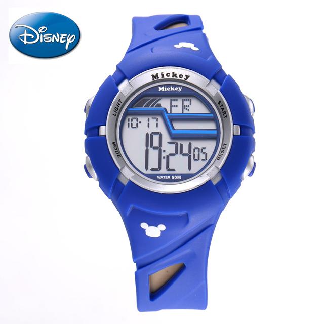 Disney 50 M Analógico Digital Reloj Electrónico A Prueba de Agua Banda de Goma alarma Deportes Al Aire Libre para Los Hombres Boy Big Dial para Hombre moda
