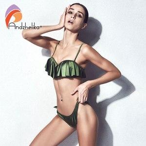 Image 1 - Anadzhelia Bikini kobiety Push Up strój kąpielowy Sexy liści lotosu brazylijski Bikini Set trzy kawałek stroje kąpielowe strój kąpielowy na plaży strój kąpielowy Biquini