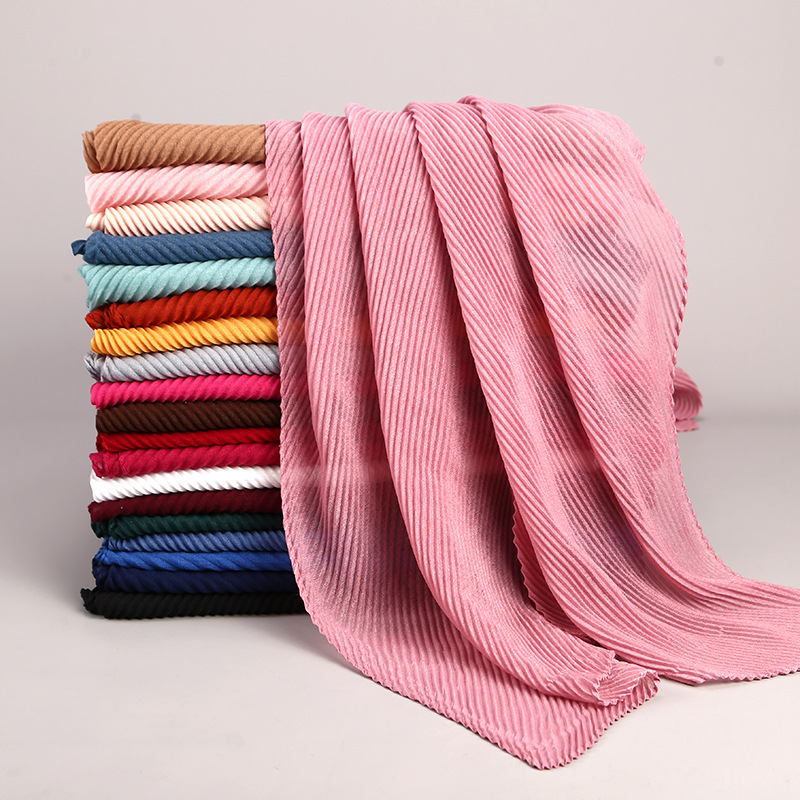 Large Size 180cm*80cm Pleated Crinkle Women's Hijab   Scarf   Muslim Head   Wrap   Shawl Plain Colours Female   Scarves   Headhand Lic