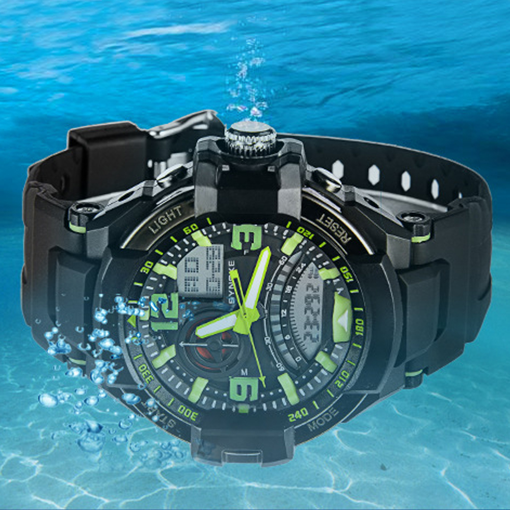 Men's Dual Display Water Resistant Multi Functional Military Sports Wrist Watch цена и фото