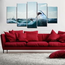 The Great White Shark Seascape Picture Sea Surfing Sport Posters and Prints Wall Art Canvas Paintings for Dining Room Decor