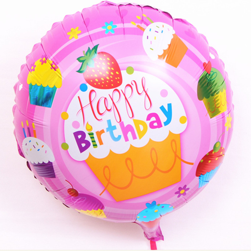 Free shipping new 18 inch round strawberry BALLOON Birthday Happy Birthday Balloon decorated children's toy wholesale party