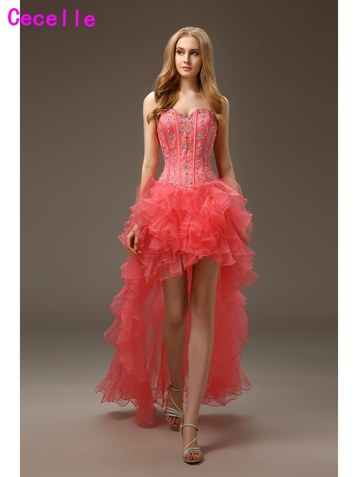 2019 Real Images High Low   Cocktail     Dresses   for Juniors Sweetheart Beaded Ruffles Organza Short Prom   Cocktail   Party   Dress   Custom