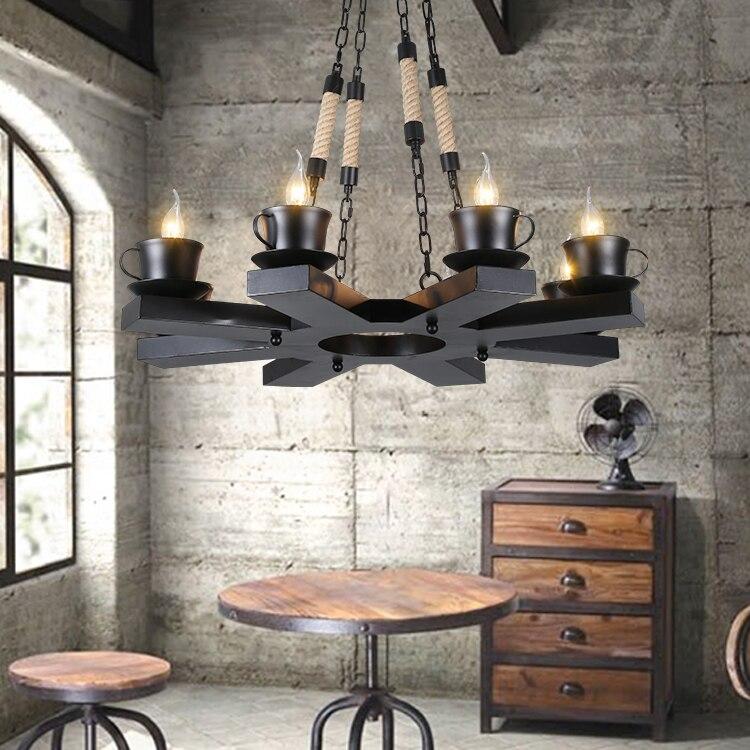 Retro Industrie Hanfseil Lampe Wohnzimmer Leuchtet Restaurant Cafe Designer Glas Eisen Pendelleuchte ZH GY50