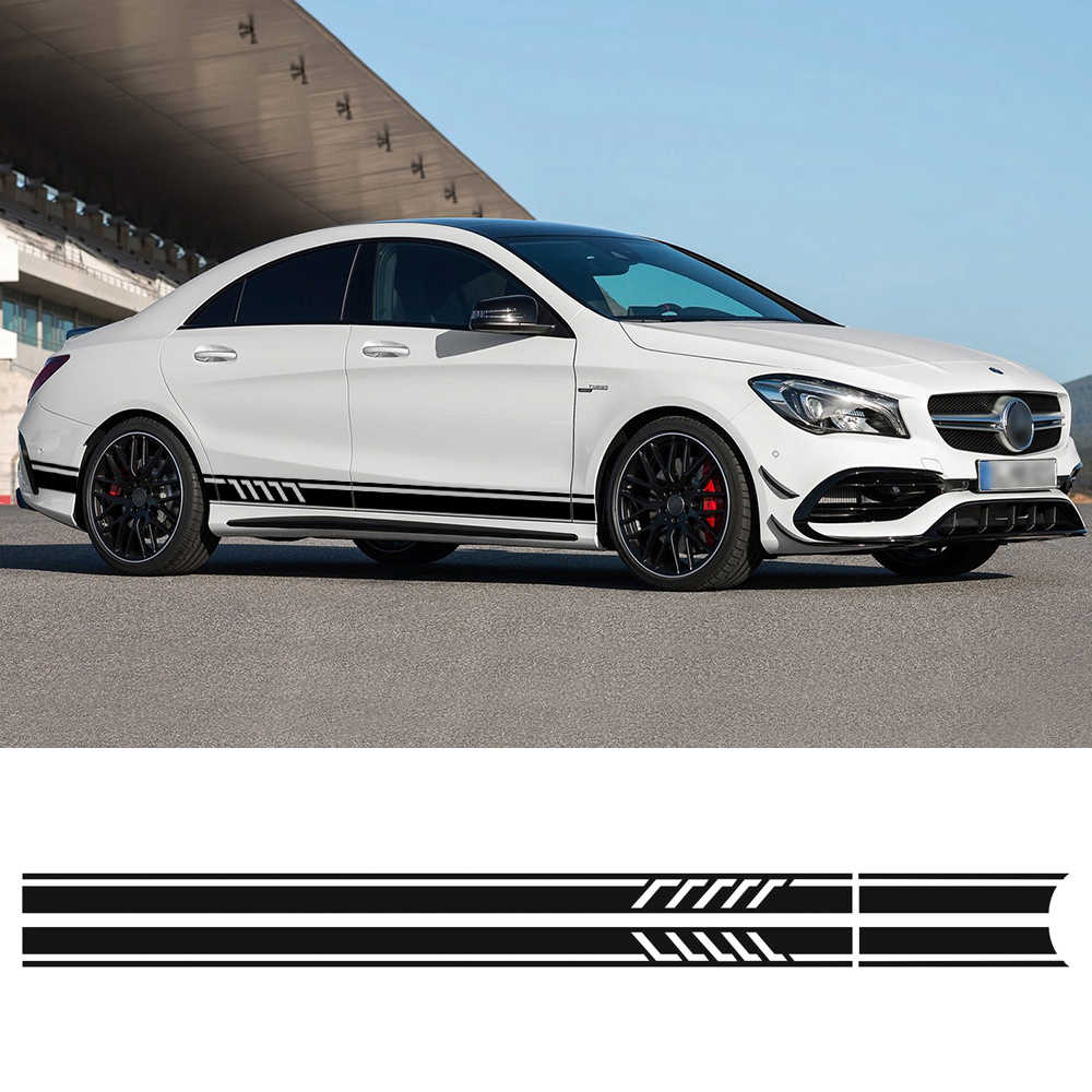 Detail feedback questions about 2pcs 1 pair car side skirt vinyl sticker decal accessories for mercedes benz w117 c117 x117 class amg audi bmw on