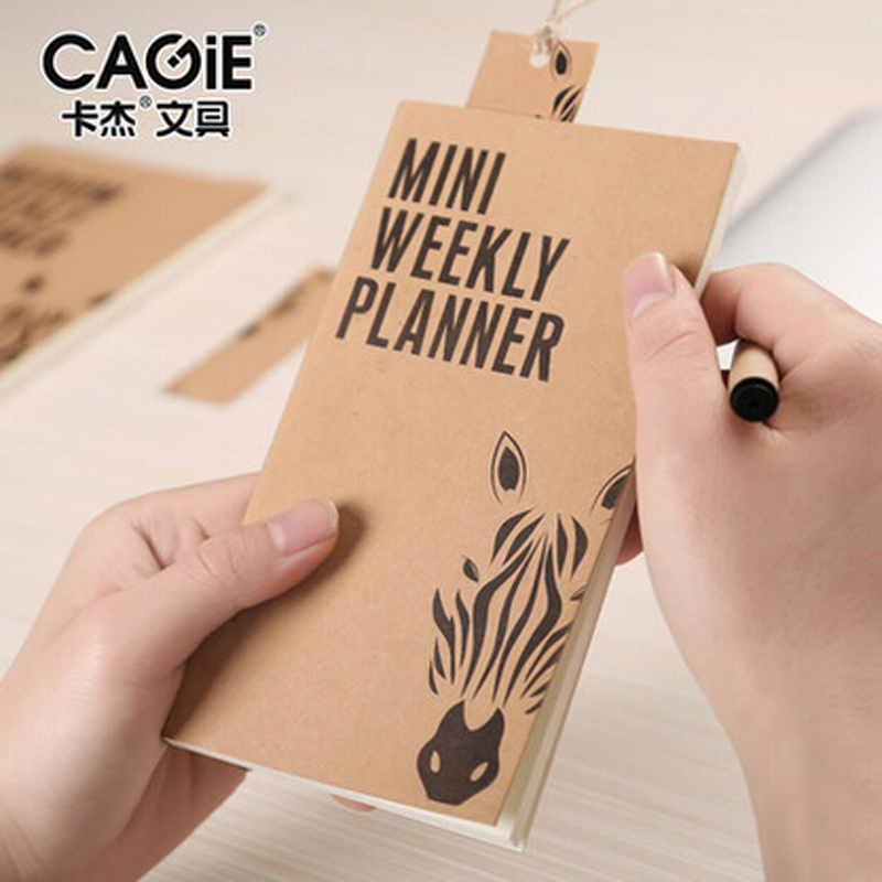CAGIE New Vintage Mini Pocket Notepad Business Office Weekly Planner Agenda Daily Memos Kraft Fitted Filofax Notebook Sketchbook notebook filofax mini