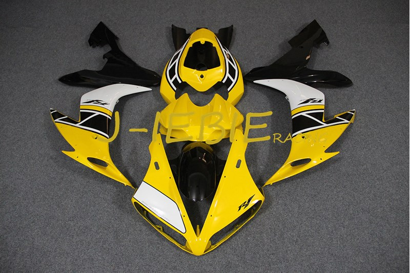 Yellow White black Injection Fairing Body Work Frame Kit for Yamaha YZF 1000 R1 2004 2005 2006