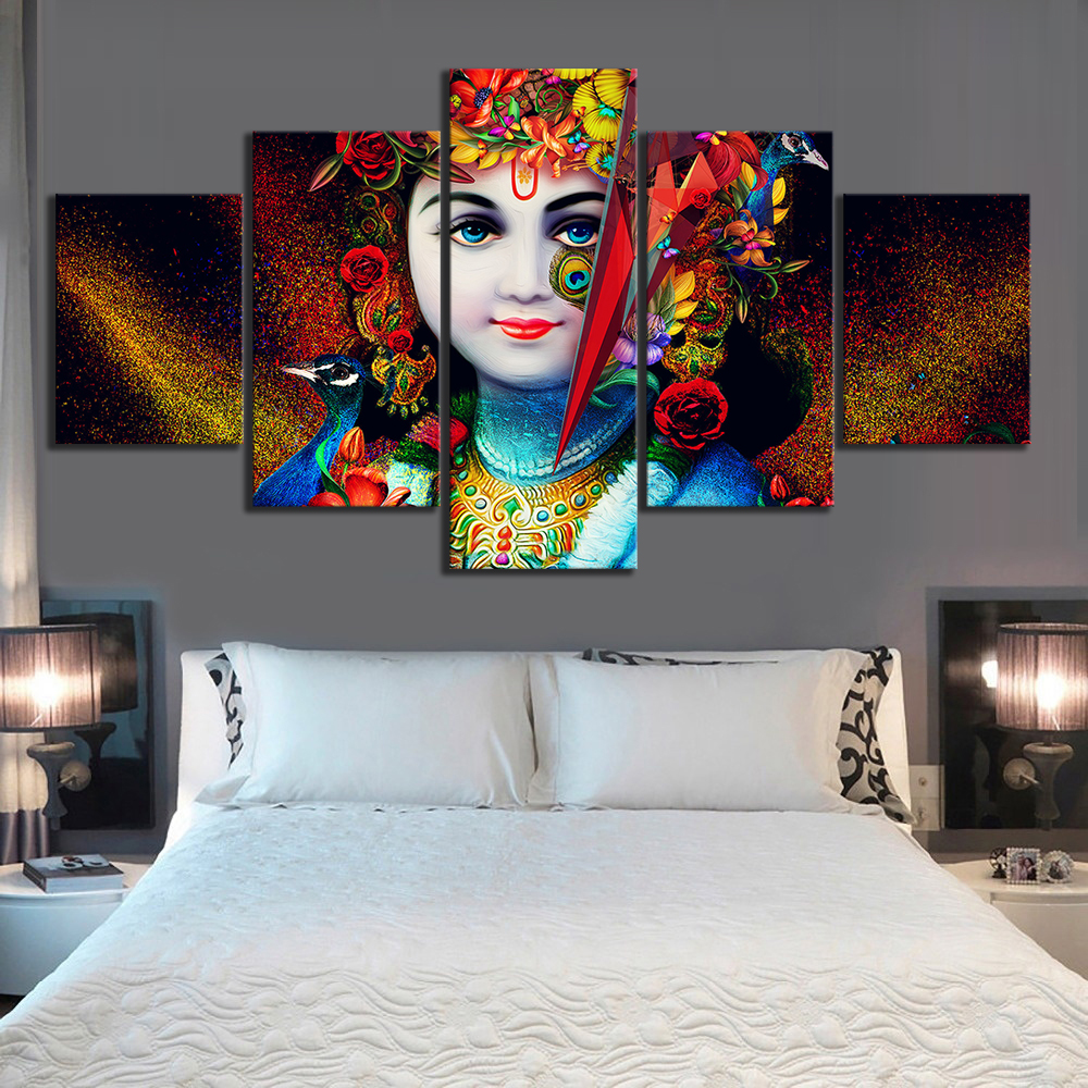 5 Piece Lord Krishna Abstract Art HD Canvas Art Wall Paintings for Home Decor 2