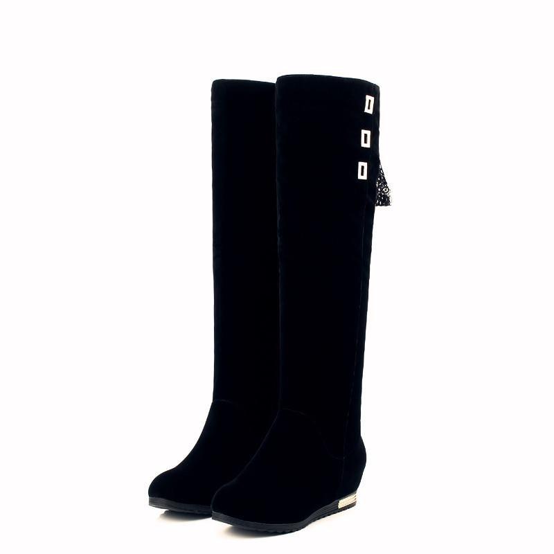 Schuhe Kappe Med Heels Smeeroon Stiefel Runde Schwarzes Frauen Klassische Elegante Rutschen Komfortable 2018 Frau Auf Einfache Kniehohe HHYB0q6