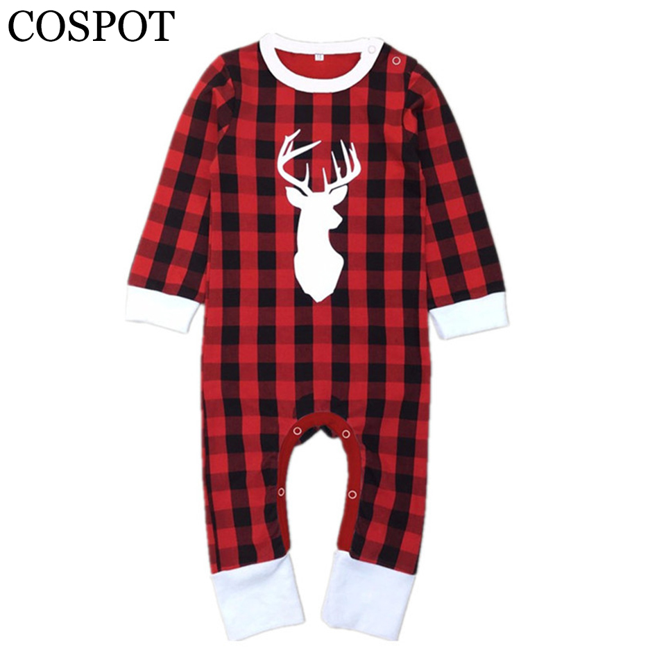 Boys Baby Boys Christmas Reindeer Romper Newborn Christmas Kombinezon dla dzieci Red Plaid Winter Rompers 2019 New Arrival 30F