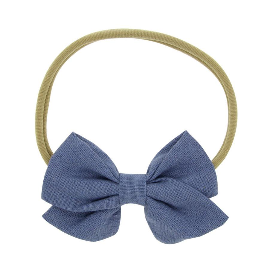 Big Bow Baby Headband 1PC Cotton linen bowknot headband Baby Kids Head Accessories Baby Solid Bow Hairband Blue Pink Red White все цены