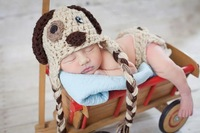 Free Shipping Puppy Dog Set Crochet Hat AND Diaper Cover Sets Infant Newborn 100 Handmade Baby