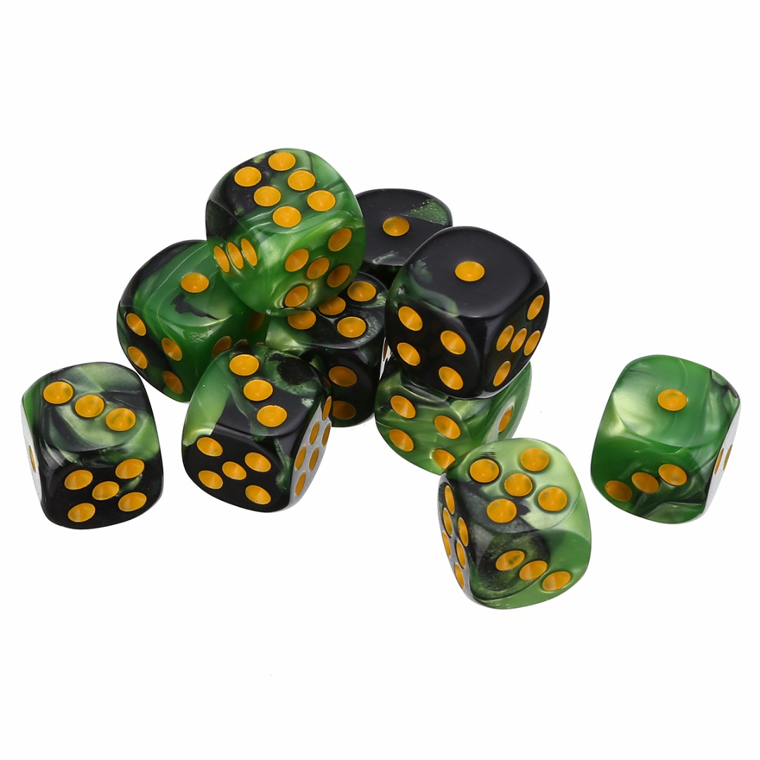 New 10pcs/Set Spot Dice 6 Sided Dice Portable Table Games Party Bar Tool 9 Colors Popular Outdoor Gaming 12mm Acrylic Dices