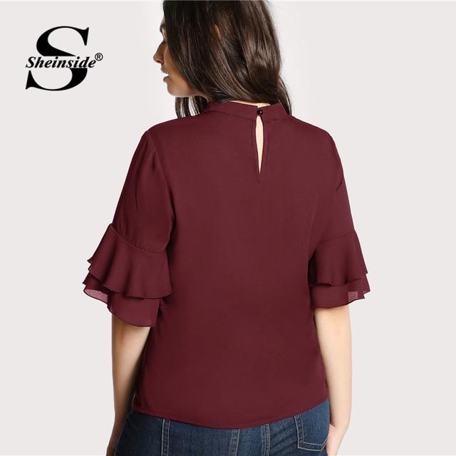 Sheinside Plus Size Burgundy Choker Neck Ruffle Sleeve Casual Blouse Women V Neck Cut Out Elegant Blouses 2018 Autumn Blouse 1