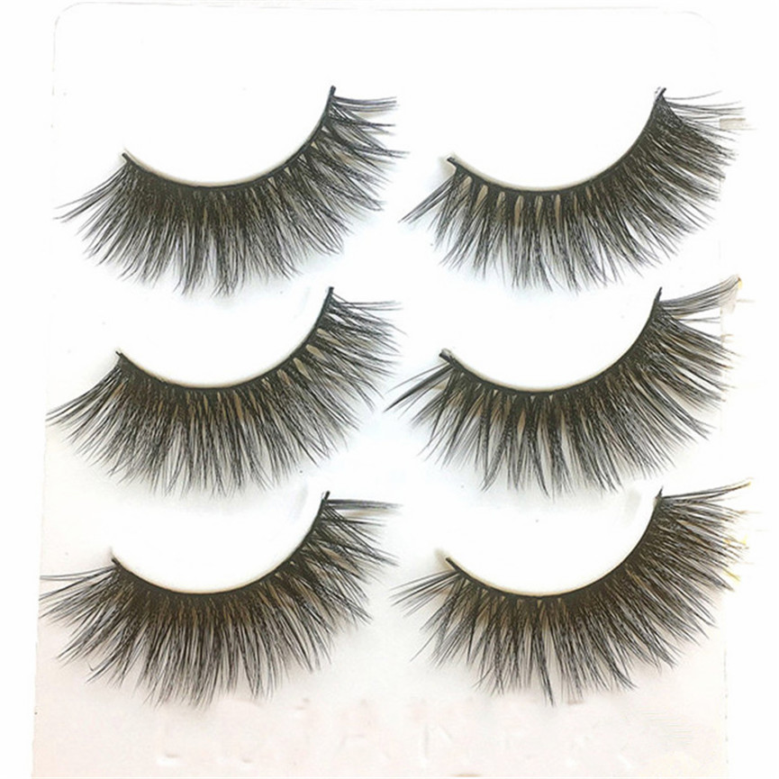 2017 3 Pairs Natural Black Long Sparse Cross False Eyelashes Makeup Fake Thick Black Eye Lashes Extention Tools Pestanas falsas