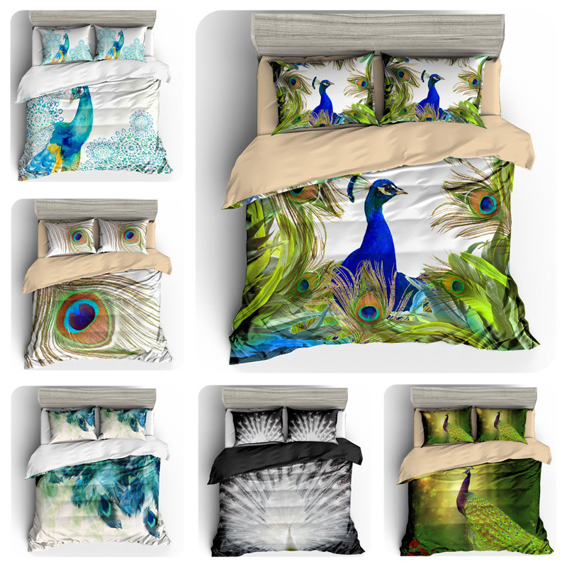 Bohemian style duvet cover set King size beautiful peacock print bedding set boho quilt cover 3D bed set best gift free shipping(China)