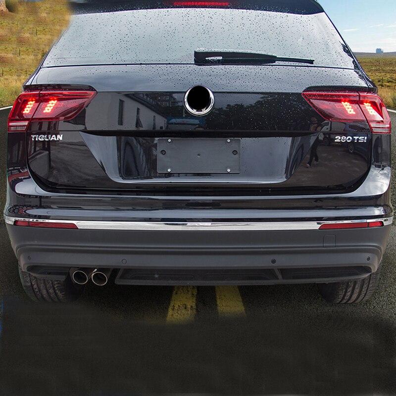 For VW Tiguan 2018 rear bumper trim tiguan chrome stainless steel bright bumper silver car sticker tiguan MK2 accessorie