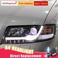 2Pcs LED Headlights For Audi A4 2001 2004 led car lights Angel eyes xenon HID KIT Fog lights LED Daytime Running Lights