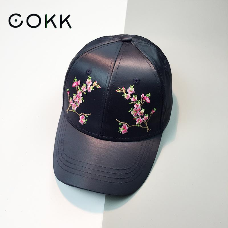 COKK Baseball Cap Women Embroidery Floral Flower Satin Snapback Dad Hat For Women Female Summer Sun Hat Club Party Cap Bone Kpop