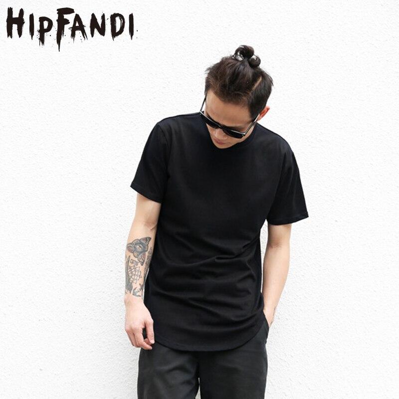 HIPFANDI Camisetas Cor Sólida Bainha Curva Longa Linha Camuflagem dos homens 2017 Verão Hop T-shirt Kanye Elong Simples Camisetas