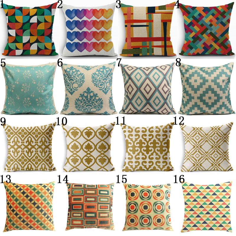 Bohemian Style Cotton Linen Pillow Case Vintage Geometric Chair Seat and Waist Square 45x45cm Pillow Cover Home Garden Textile