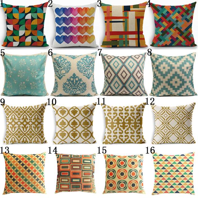 Bohemian Style Cotton Linen Pillow Case Vintage Geometric Chair Seat and Waist Square 45x45cm Pillow Cover Home Garden Textile